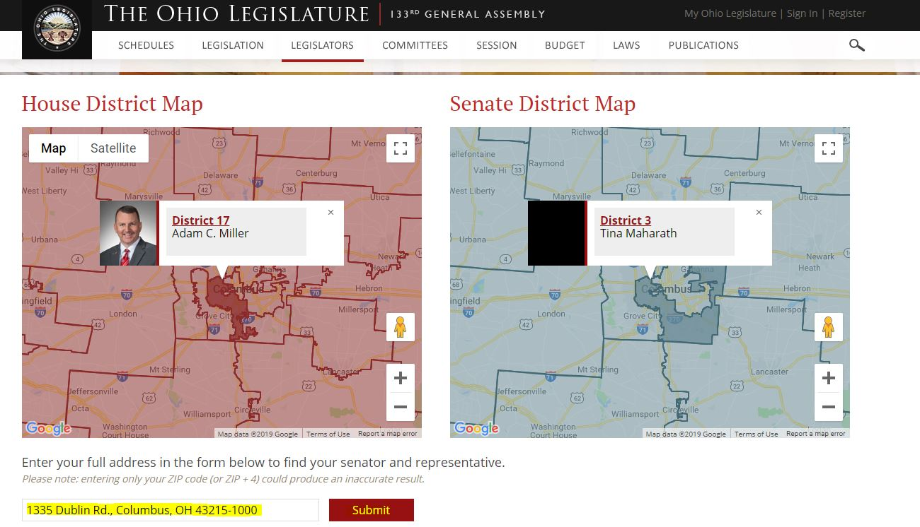 2nd screenshot of the legislature lookup